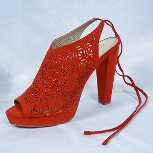 ALDO Dark Coral Laser Cut Block Heel with Tie 10